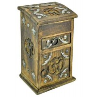 Om Carved Wooden Storage Chest