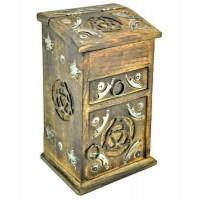 Triquetra Carved Wooden Storage Chest