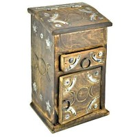 Triple Moon Carved Wooden Herb Chest