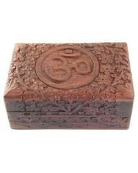 Om Symbol Floral Carved Wood Box - 6 Inches Mystic Convergence Metaphysical Supplies Metaphysical Supplies, Pagan Jewelry, Witchcraft Supply, New Age Spiritual Store