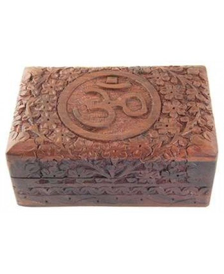 Om Symbol Floral Carved Wood Box - 6 Inches at Mystic Convergence Metaphysical Supplies, Metaphysical Supplies, Pagan Jewelry, Witchcraft Supply, New Age Spiritual Store