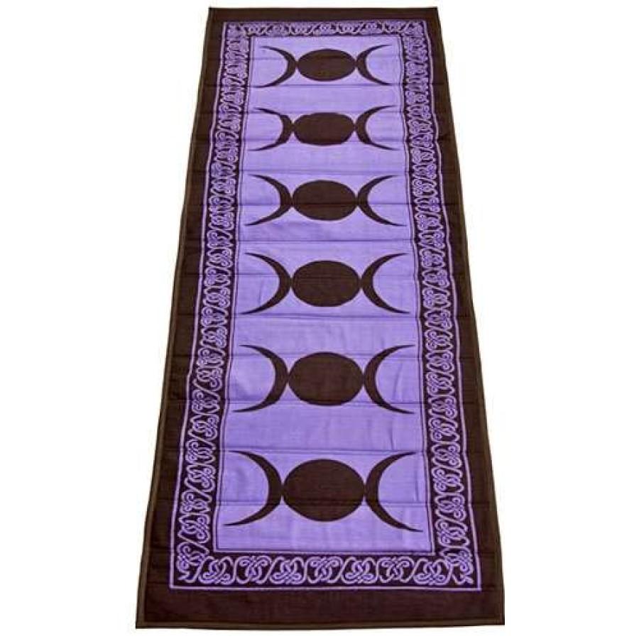 Triple Moon Purple Cotton Yoga Mat Wiccan Yoga