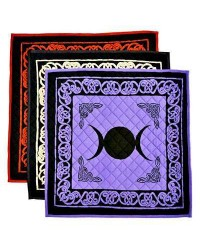 Triple Moon Cotton Meditation Mats - 3 Assorted Colors Mystic Convergence Metaphysical Supplies Metaphysical Supplies, Pagan Jewelry, Witchcraft Supply, New Age Spiritual Store
