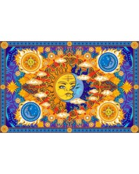 Firey Sun and Moon Cotton Bedspread Mystic Convergence Metaphysical Supplies Metaphysical Supplies, Pagan Jewelry, Witchcraft Supply, New Age Spiritual Store