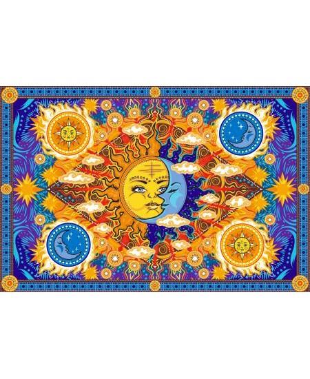 Firey Sun and Moon Cotton Bedspread