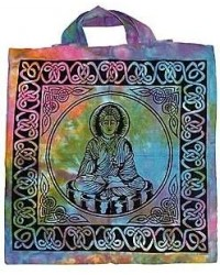 Buddha Tie Dye Cotton Tote Bag Mystic Convergence Metaphysical Supplies Metaphysical Supplies, Pagan Jewelry, Witchcraft Supply, New Age Spiritual Store
