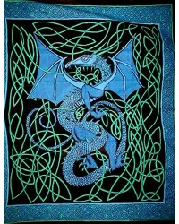 Celtic English Dragon Tapestry - Full Size Blue Mystic Convergence Metaphysical Supplies Metaphysical Supplies, Pagan Jewelry, Witchcraft Supply, New Age Spiritual Store