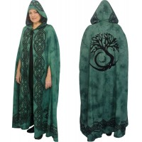 Green Tree of Life Hooded Cloak