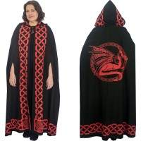 Red Dragon Black Hooded Cloak