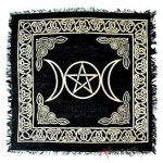 Triple Moon Altar Cloth - Gold and Black at Mystic Convergence Metaphysical Supplies, Metaphysical Supplies, Pagan Jewelry, Witchcraft Supply, New Age Spiritual Store