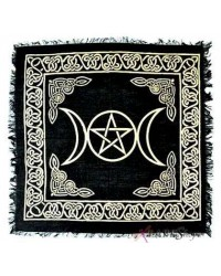 Triple Moon Altar Cloth - Gold and Black Mystic Convergence Metaphysical Supplies Metaphysical Supplies, Pagan Jewelry, Witchcraft Supply, New Age Spiritual Store