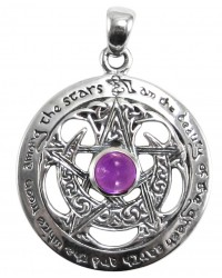 Moon Pentacle Sterling Silver Pendant with Amethyst