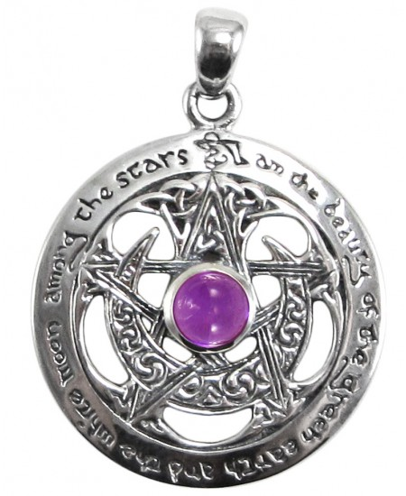 Moon Pentacle Sterling Silver Pendant with Amethyst at Mystic Convergence Metaphysical Supplies, Metaphysical Supplies, Pagan Jewelry, Witchcraft Supply, New Age Spiritual Store