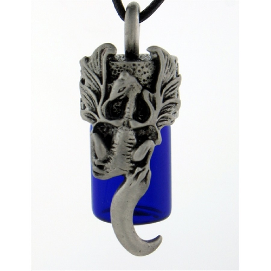 Dragon Essential Oil Bottle Vial Necklace - Pewter Top Necklace