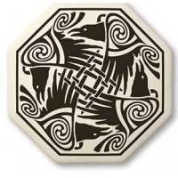 Nehalennia Celtic Octagon Raven Porcelain Necklace