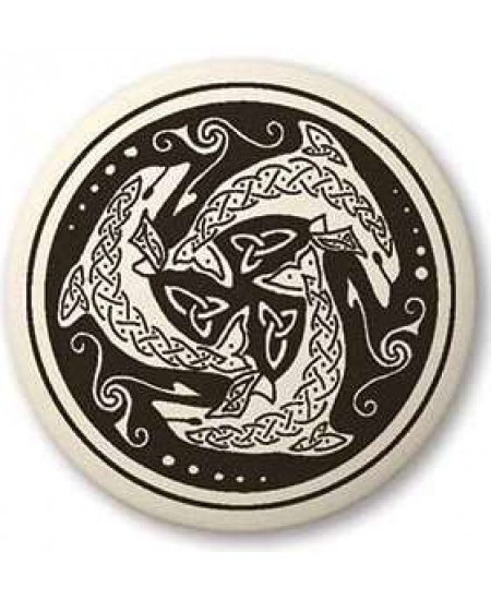 Nehalennia Celtic Dolphin Porcelain Round Necklace