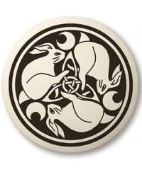 Hare Celtic Rabbit Porcelain Round Necklace Mystic Convergence Metaphysical Supplies Metaphysical Supplies, Pagan Jewelry, Witchcraft Supply, New Age Spiritual Store