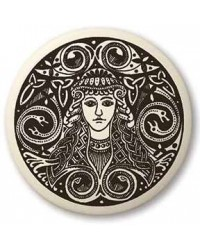 Brigantia Celtic Goddess Porcelain Round Necklace Mystic Convergence Metaphysical Supplies Metaphysical Supplies, Pagan Jewelry, Witchcraft Supply, New Age Spiritual Store
