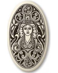Brigantia Celtic Goddess Porcelain Oval Necklace Mystic Convergence Metaphysical Supplies Metaphysical Supplies, Pagan Jewelry, Witchcraft Supply, New Age Spiritual Store