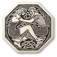 Divine Couple Celtic Octagon Porcelain Necklace