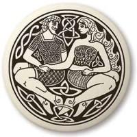 Divine Couple Celtic Round Porcelain Necklace