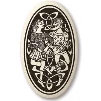 Divine Couple Celtic Oval Porcelain Necklace
