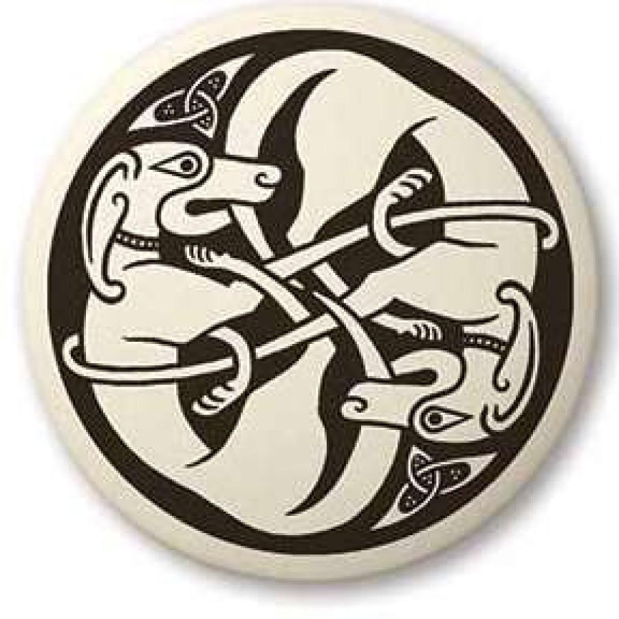 Celtic Dog Round Porcelain Necklace