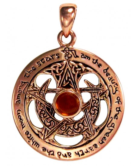 Moon Pentacle Copper Pendant with Amber at Mystic Convergence Metaphysical Supplies, Metaphysical Supplies, Pagan Jewelry, Witchcraft Supply, New Age Spiritual Store