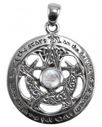 Moon Pentacle Sterling Silver Pendant with Moonstone Mystic Convergence Metaphysical Supplies Metaphysical Supplies, Pagan Jewelry, Witchcraft Supply, New Age Spiritual Store