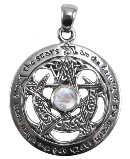 Moon Pentacle Sterling Silver Pendant with Moonstone at Mystic Convergence Metaphysical Supplies, Metaphysical Supplies, Pagan Jewelry, Witchcraft Supply, New Age Spiritual Store