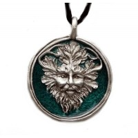 Green Man Enameled Pewter Necklace