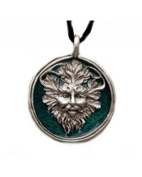 Green Man Enameled Pewter Necklace Mystic Convergence Metaphysical Supplies Metaphysical Supplies, Pagan Jewelry, Witchcraft Supply, New Age Spiritual Store