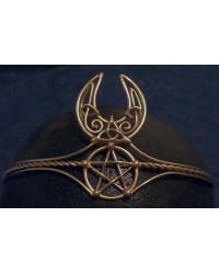 Celtic Moon Triquetra Pentacle Bronze Wiccan Circlet