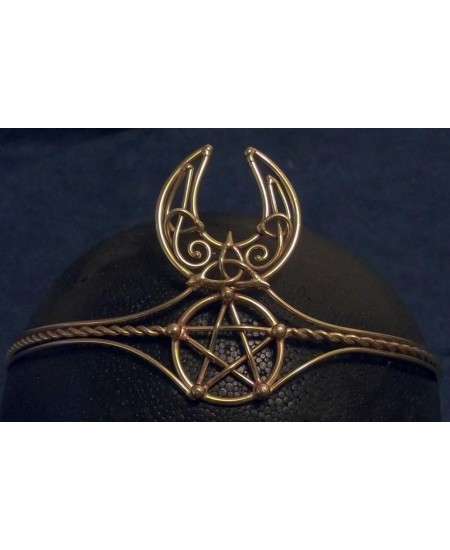 Celtic Moon Triquetra Pentacle Bronze Wiccan Circlet at Mystic Convergence Metaphysical Supplies, Metaphysical Supplies, Pagan Jewelry, Witchcraft Supply, New Age Spiritual Store