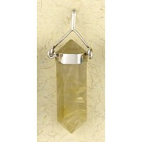 Rutilated Quartz Crystal Sterling Silver Necklace