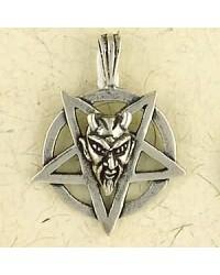 Baphomet Sterling Silver Inverted Pentagram Necklace