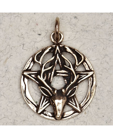 Stag Pentacle Bronze Necklace at Mystic Convergence Metaphysical Supplies, Metaphysical Supplies, Pagan Jewelry, Witchcraft Supply, New Age Spiritual Store