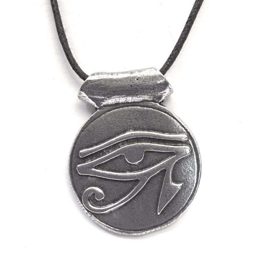 Eye of horus disk pewter necklace egyptian jewelry eye of horus disk pewter necklace aloadofball Images