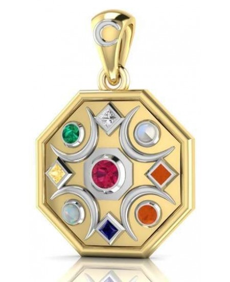 Chandra Moon Gemstone Gold Plated Pendant at Mystic Convergence Metaphysical Supplies, Metaphysical Supplies, Pagan Jewelry, Witchcraft Supply, New Age Spiritual Store