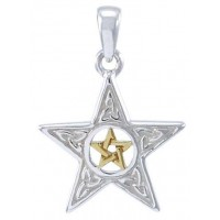 Celtic Double Pentagram Pendant in Sterling Silver and Gold
