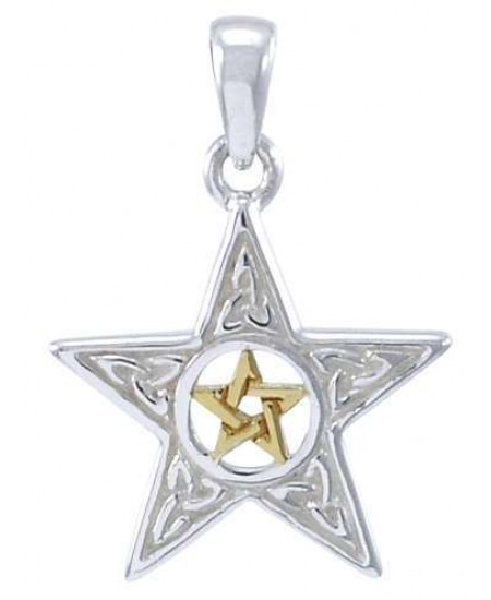 Celtic Double Pentagram Pendant in Sterling Silver and Gold at Mystic Convergence Metaphysical Supplies, Metaphysical Supplies, Pagan Jewelry, Witchcraft Supply, New Age Spiritual Store