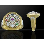 Chandra Moon Gemstone Gold Plated Ring