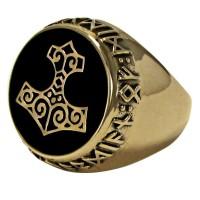Thor Hammer Bronze Signet Ring