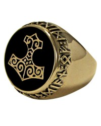 Thor Hammer Bronze Signet Ring Mystic Convergence Metaphysical Supplies Metaphysical Supplies, Pagan Jewelry, Witchcraft Supply, New Age Spiritual Store