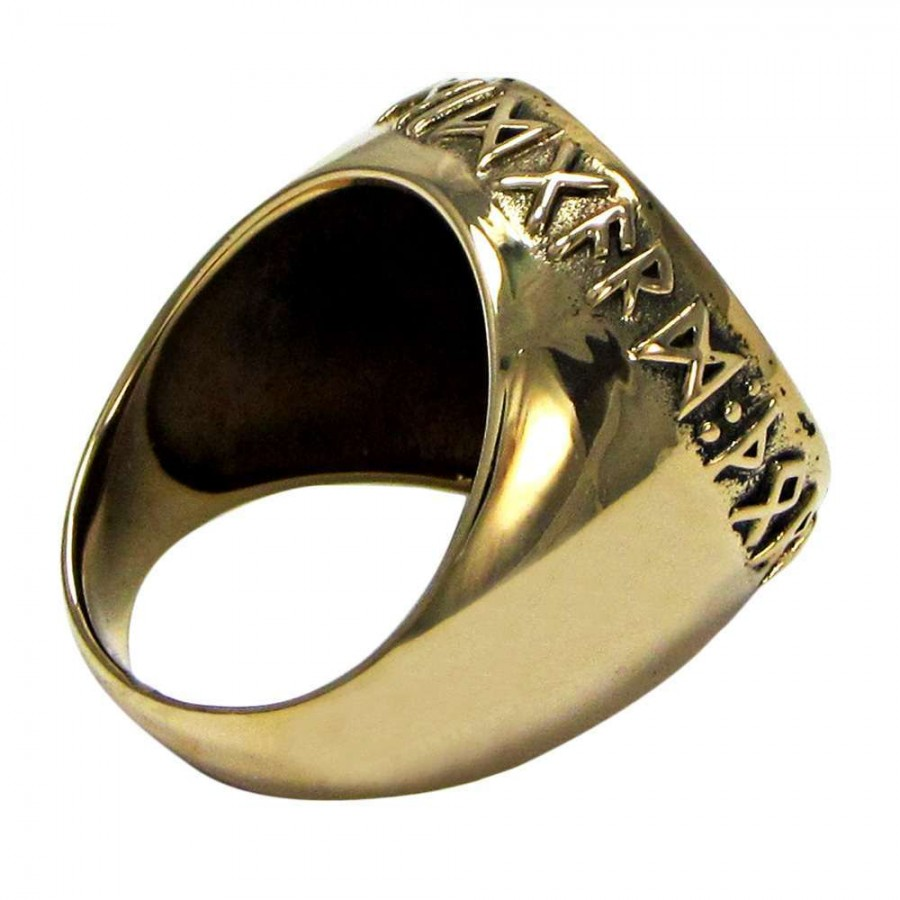 Thor Hammer Bronze Signet Ring Asatru Norse