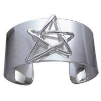 Modern Pentagram Cuff Bracelet in Sterling Silver