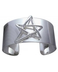 Modern Pentagram Cuff Bracelet in Sterling Silver Mystic Convergence Metaphysical Supplies Metaphysical Supplies, Pagan Jewelry, Witchcraft Supply, New Age Spiritual Store