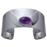 Crescent Moon Sterling Silver Gemstone Cuff Bracelet