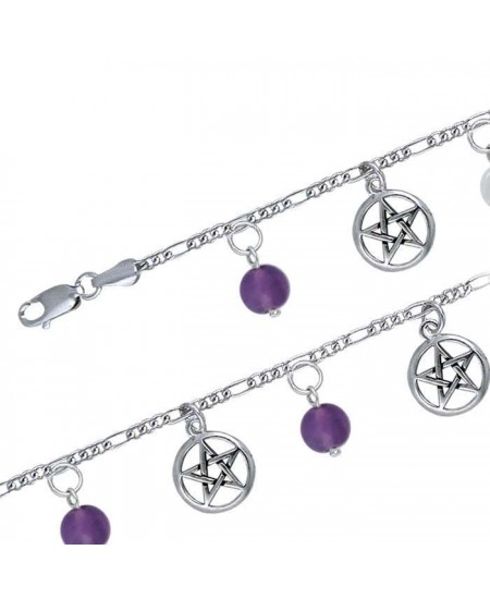 Pentacle and Gemstone Charm Bracelet at Mystic Convergence Metaphysical Supplies, Metaphysical Supplies, Pagan Jewelry, Witchcraft Supply, New Age Spiritual Store