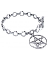 Pentacle Sterling Silver Toggle Bracelet Mystic Convergence Metaphysical Supplies Metaphysical Supplies, Pagan Jewelry, Witchcraft Supply, New Age Spiritual Store